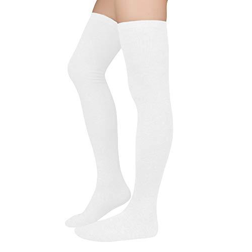 Durio Kniestrümpfe Damen Overknee Strümpfe Extra Lang Overknee Socken College Über-knie Strümpfe Mädchen Cheerleader Sportsocken A-Weiß