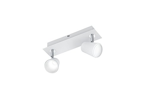 Trio Leuchten LED Deckenleuchte Narcos 873170231, Metall weiß matt / Chrom, 2 x 4 Watt