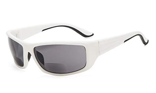 Eyekepper Sports Bifokal Sonnenbrille +1.00 Stärke Rechteckrahmen Lesung Sonnenbrille (Weiß Rahmen/Grau Linse)