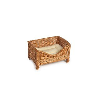 Luxury Wicker Pet Bed with Cushion - Small