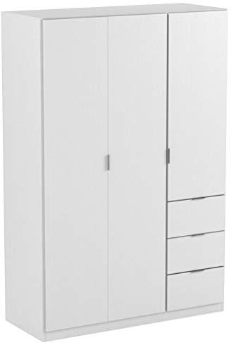 Habitdesign LCX323O - Armario ropero de Tres Puertas y Tres cajones, Color Blanco Mate, Medidas 180x121x52 cm de Fondo