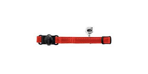 HUNTER REFLECTA Katzenhalsband, Nylon, reflektierend, Sicherheitsverschluss, Glöckchen, rot