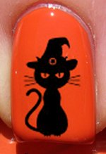 Halloween Chat de sorcière - Stickers pour ongles YRNAILS