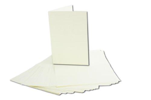 50 Stück Einlege-Papier, Naturweiß/Hellbeige/Chamois, für B6 Doppelkarten. Einleger-Gesamtgröße: 167 x 222 mm - Gefalzt auf 111 x 167 mm - hochwertiges Papier mit 100g / qm