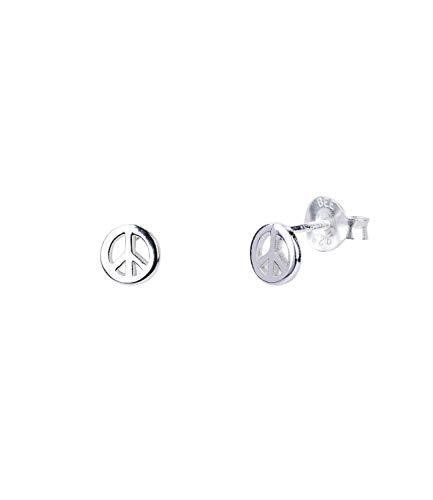 SIX Damen Ohrringe aus 925er Silber, Ohrstecker im Festival Look, Stecker in Form von Peace Zeichen in silberfarben (791-200) (Disney Kostüm Zeichen)