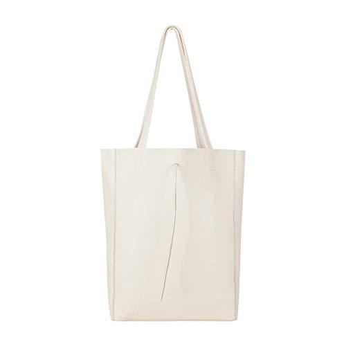 SKUTARI Original Vittoria Classic Shopper, Laptop- und Einkaufstasche aus echtem Leder mit extra langen Griffen und Reißverschlussinnentasche, handgefertigt in Italien   Beige, 36 x 38 x 13 cm - Innentasche Mit Reißverschluss