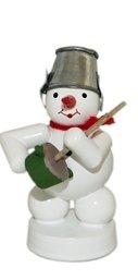 Schneemann Musikant mit Brummtopf Höhe 8 cm NEU Weihnachtsfigur Tischfigur Holz Erzgebirge