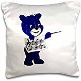 Susans Zoo Crew Music - blue bear holding sheet music - 16x16 inch Pillow Case