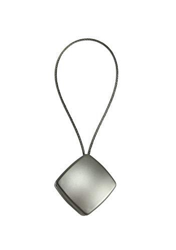 Magnet Clip - Dekomagnet quadratisch 28 x 28 mm - mit Drahtschlaufe - z.B. zum Raffen von Gardinen, Edelstahl