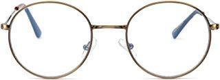Anti Blaues Licht Rund Lesebrille Vintage Metall Kreis Rahmen Computer Gaming Brillen für Damen Herren(Gunmetal/Klar)