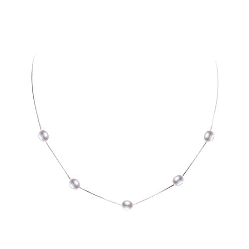 BENatural-UK Süßwasserperle Halskette Anhänger für Frauen mit 925 Sterlingsilber Modeschmuck, Mehrfarbig, 6-7 mm, 45 cm