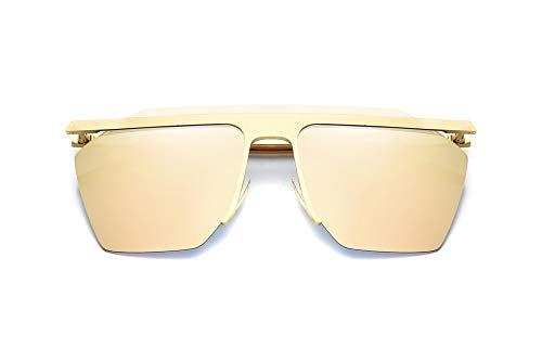 LKVNHP Schild Sonnenbrille Frauen Markendesigner Großen Rahmen Männer Sonnenbrille Oculos De Sol Feminino Occhiali HombreRosa Spiegel