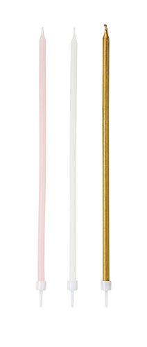 Talking Tables We Heart Pink; Lange schlanke Kuchenkerzen für Geburtstage und Partys, Bunt (16 pro Pack)
