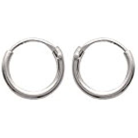 Orecchini a cerchio in argento 925, diametro: 8 mm, larghezza: 1,5 mm