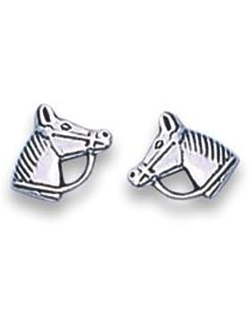 Sterling Silber Pferdekopf -Ohrringe für Kinder - SIZE : 7mm 5006. Geschenkbox Pferd Ohrringe