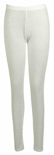 Femmes Neuf Décontracté Grande Taille Pantalon Extensible Dames Uni ÀÉlastique Long Legging Base Blanc