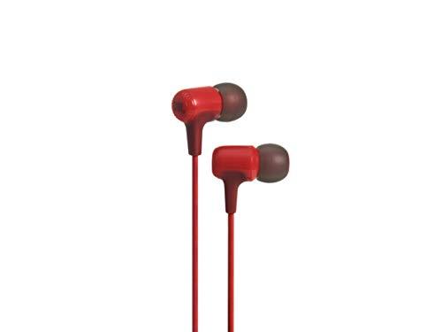 JBL E15RED Intra-Auricolari con Comando/Microfono, Rosso