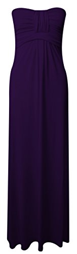 Ladies Lightweight Knot Front Strapless Boobtube Maxi Dress EUR Taille 36-54 Lila