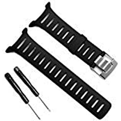 Remplacement étanche souple en élastomère Noir montre bracelet Band Sangle avec fermoir en métal pour Suunto T-Series Smart Watch