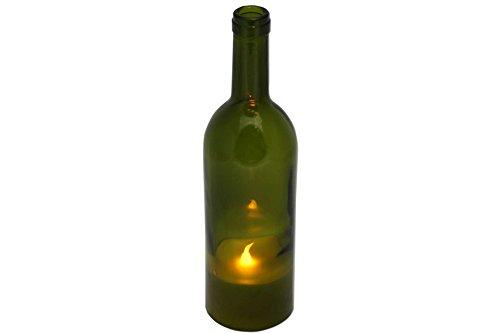 LED Echtwachs Kerze in Weinflasche 27 cm flaschen-grün Lampe