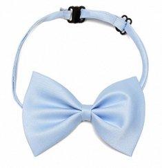 Doggie Style Store Light Blue Shiny Dog Bow Tie