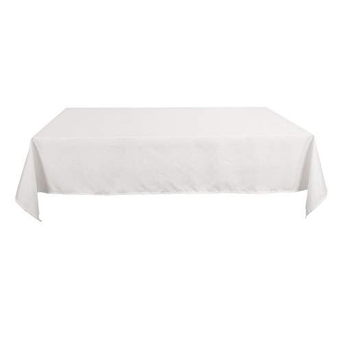 Deconovo Nappe pour Salle à Manger Effet Lin Rectangulaire Impermeable 140x300cm Blanche