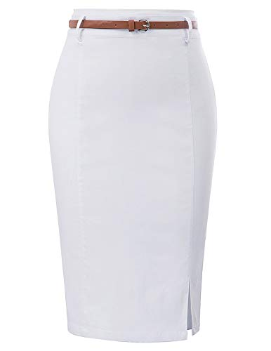 Kate Kasin - Gonna da Donna Elegante con Stampa Floreale Bianco (kk856-7). L