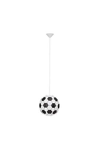 BRILLIANT Suspension papier Soccer motif football diametre 30 cm E27 60W noir et blanc