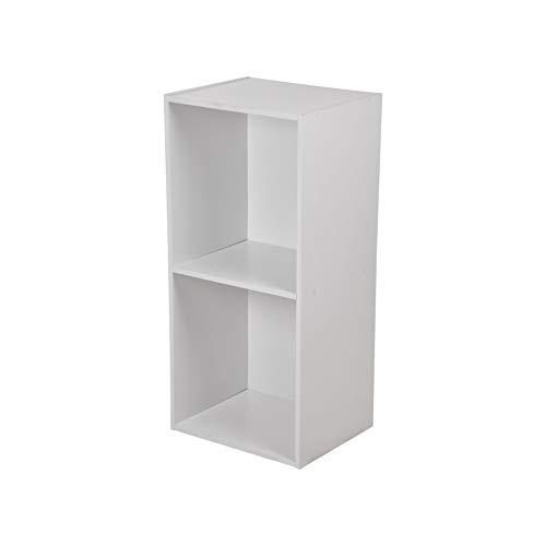 HOMEA Cube de Rangement 2 Niches Panneaux de Particules, Blanc, 34,4x29,5x67,6 cm