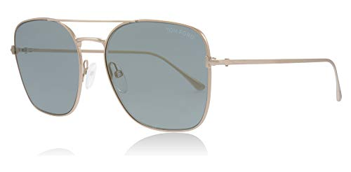 Tom Ford FT0680 28X Rose Gold Dylan Square Pilot Sunglasses Lens Category 2 Lens Mirrored Size 57mm