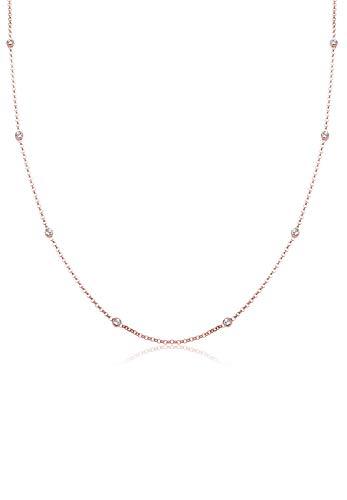 Elli Damen Echtschmuck Halskette Solitär Basic mit Swarovski Kristallen in 925 Sterling Silber rosé vergoldet Länge 45 cm