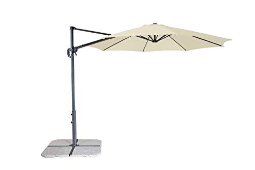 Derby Ravenna Smart 300 - Hochwertiger Ampelschirm ideal für Garten und Terrasse - Neigbar - ca. 300cm - Natur