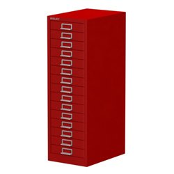 Bisley 15 Drawer Cabinet Red All-steel construction with chrome plated D-ring handles and index card holder 532541