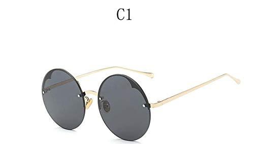 LAMAMAG Sonnenbrille Klare Gelbe Große Runde Sonnenbrille Frauen Unsiex Randlose Eyewear Transparente Farbe Sonnenbrille Für Frauen Paar Uv, 1