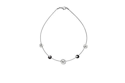 Perlkönig Collier Kette Halskette   Damen Frauen   Silber Schwarz Farben   Kreis Anhänger   Nickelfrei