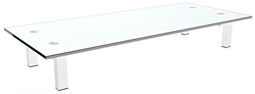 RICOO Supporto da tavolo per TV Montaggio FS8235-W Staffa per televisore base piatto piedistallo Smart 4K Curvo 3D QLED OLED LED LCD mobile braccio television universale Colore Bianco