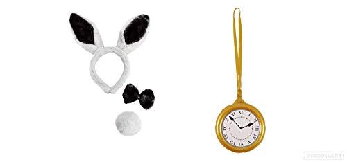 Seemeinthat Hasenohren und Uhr, EIN tolles Set für Buchwoche, Junggesellinnenabschied, Tierverkleidung, Ostern, Halloween, Weihnachten und Party.