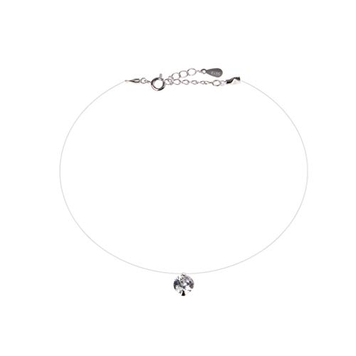 JAGETRADE 925 Silber Perle Zirkonia Solitär Choker unsichtbar Angelschnur Halskette, 6, See Product Description and Picture for Details