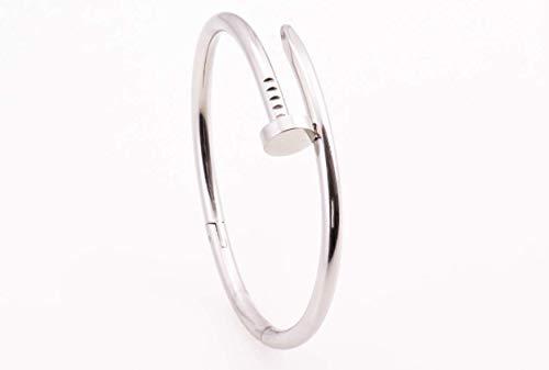 S|H JEWELRY Armbänder Amerikanisches Original Bangle Bracelet Street Fashion Nagel Armband Vergoldetes Nagelarmband mit Nagelform, Gold Unisex Damen und Herren Armreif Armband (Silber)