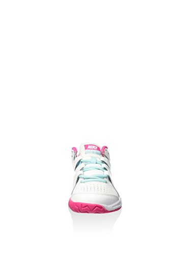 Nike Vapor Court (Gs), Chaussures de Tennis Fille Blanc / bleu / rose (blanc / rose vif)