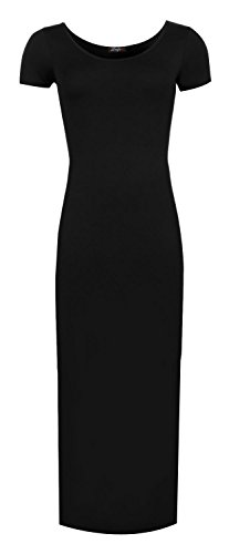 Fast Fashion Frauen Kleid Plain Kappenhülse Seiten Split Langen Dehnbaren Maxi Schwarz