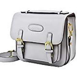 Saika PU Cuir Vintage Sac à bandoulière Housse pour Polaroid Fujifilm Instax Mini 9/Mini 8/Mini 26/Mini 90/appareil photo instantané - Smokey Blanc