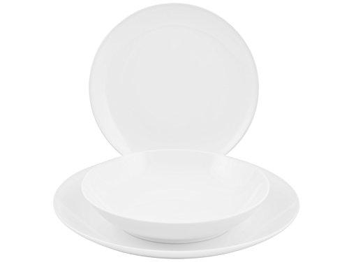 Home 8145300 Coupé Flow Service de Table en Porcelaine DE 18 pièces Blanc