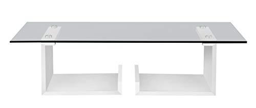 'Table Basse Letterato Finition Blanc frassinato Poro Ouvert cm 100 x 60 H27 en melaminico de Haute qualité' travaillé en Folding avec Verre trempé épaisseur cm 1. Produit entièrement Italien