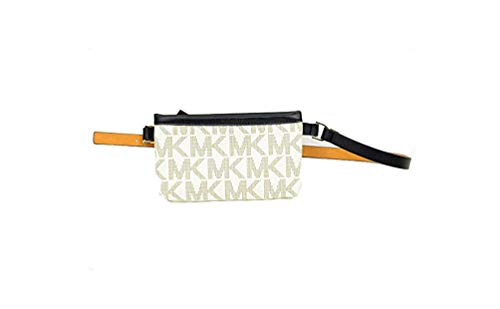 Michael Kors Navy Blue and White Leather Belt Signature Fanny Pack Zip up Small