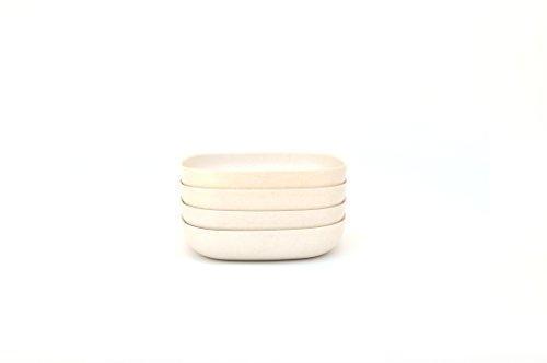 Bamboo Teller-rack (EKOBO 34130 4-er Set Salatteller/Spaghettiteller, weiß)