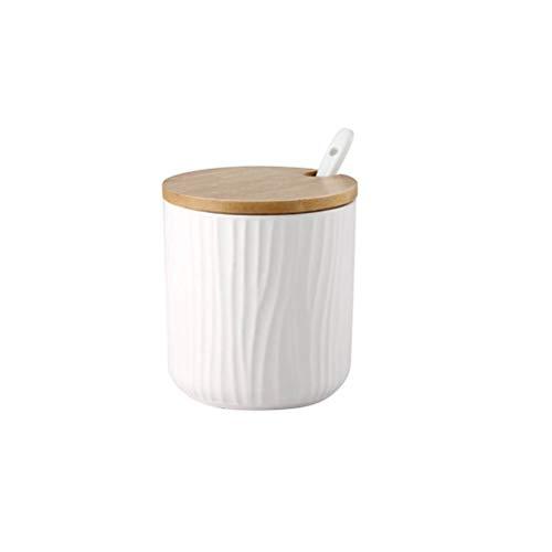 BESTONZON Runde Keramik Gewürzdosen Zuckerdose Food Storage Container mit Bambus Deckel zum Servieren Tee Kaffee Gewürz