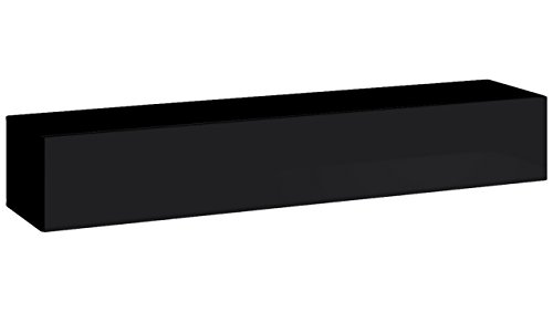 JUSTyou SWOTCH I Lowboard TV-Board Fernsehtisch (HxBxT): 30x180x40 cm Schwarz Matt / Schwarz Hochglanz