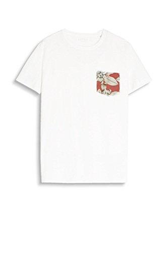 ESPRIT Herren T-Shirt 067ee2k002 Weiß (White 100)