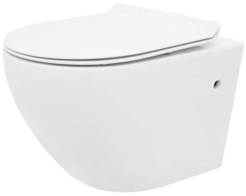 VBChome Hänge WC spülrandlos Toilette inkl. softclose wc Sitz absenkautomatik Deckel aus Duroplast + abnehmbar spülrandloses Wand wc Toilette ohne Unterspülrand